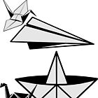 ORIGAMI paper airplane paper duck and paper crane by SofiaYoushi
