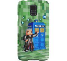 8bit 12th Doctor with blue phone box Samsung Galaxy Case/Skin