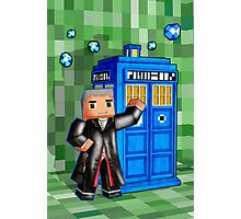 8bit 12th Doctor with blue phone box Photographic Print