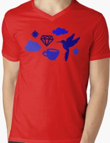 Morning Blues with Puzzles and Diamonds Mens V-Neck T-Shirt