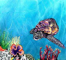 Sea Turtle - Seascape Watercolour by Brazen Edwards