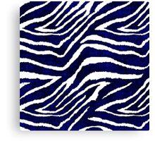 Animal Print Zebra Blue and White Canvas Print
