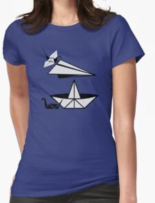 ORIGAMI paper airplane paper duck and paper crane Womens Fitted T-Shirt