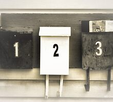 One Two Three - Old Mail Boxes by M Sylvia Chaume