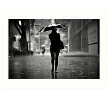 silhouette in the rain Art Print