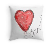Heart Balloon in Red with Love Throw Pillow
