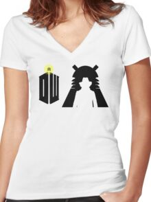 Doctor Who Pattern 3 Women's Fitted V-Neck T-Shirt