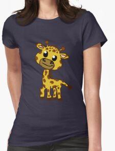 Baby Giraffe Cartoon Womens Fitted T-Shirt