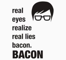 Funny Hipster Shirt Bacon Realize Poetry Humor Irony  Kids Clothes