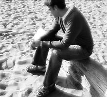 Yesterday I saw a man looking for footsteps on the sand by WaleskaL