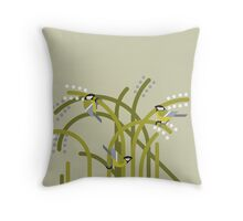 Three Great Tits vector illustration Throw Pillow