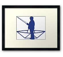 fisherman and a paper origami  boat Framed Print