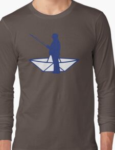 fisherman and a paper origami  boat Long Sleeve T-Shirt