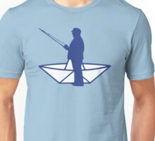 fisherman and a paper origami  boat Unisex T-Shirt