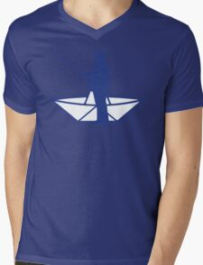 fisherman and a paper origami  boat Mens V-Neck T-Shirt
