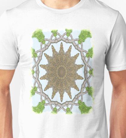 Bark Leaves Stone Kaleidoscope Art 2 Unisex T-Shirt