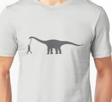 walking a dinosaur pet like a dog walking Unisex T-Shirt