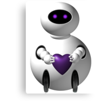 Purple Robot Love Canvas Print