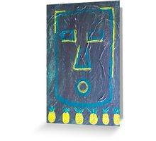Tiki Face with Six Pineapples by Holly Cannell Greeting Card