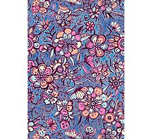 Sweet Spring Floral - soft indigo & candy pastels Photographic Print