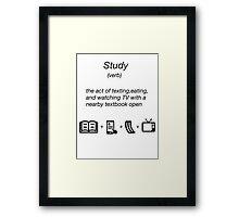 funny shirt novelty study dictionary noun Framed Print