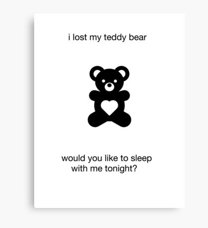 funny novelty sex joke cute teddy bear humor Canvas Print