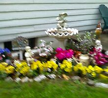 Bird Bath Painted to A Blurr by Linda Miller Gesualdo