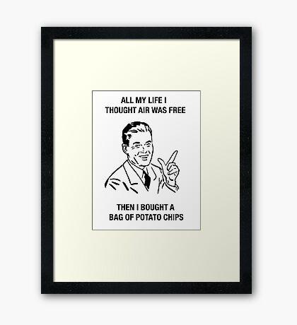 chips retro funny humor sarcasm tees shirt Framed Print