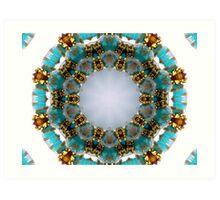 Aqua and Gold Beads Kaleidoscope Art Print