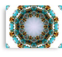Aqua and Gold Beads Kaleidoscope Canvas Print