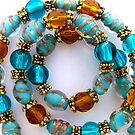 Aqua and Gold Necklace by Erica Long