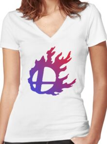 Smash Logo Red and Blue Women's Fitted V-Neck T-Shirt
