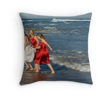 Fun times by the beach Throw Pillow