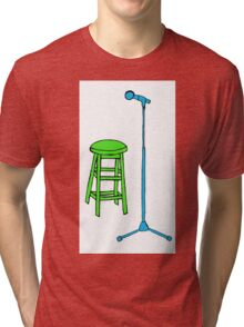 Stand Up Comedy Stool and Mic.  Tri-blend T-Shirt