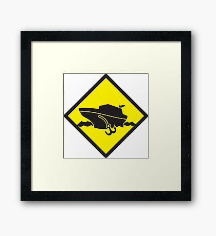 DANGER warning sign Cruise liner boat crossing Framed Print