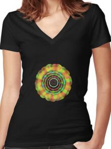 Psychedelic Flower T-Shirt Women's Fitted V-Neck T-Shirt