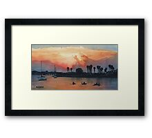 """Mission Beach"" Watercolor Framed Print"