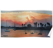 """""""Mission Beach"""" Watercolor Poster"""