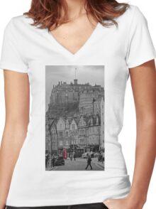 Edinburgh Phone Box Women's Fitted V-Neck T-Shirt