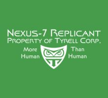 Nexus 7 Replicant - Property of Tyrell Corp. Kids Tee