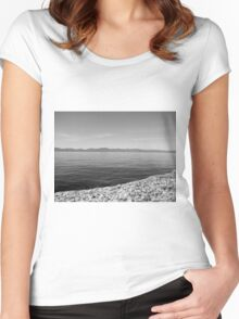 Black And White Landscape 12  Women's Fitted Scoop T-Shirt