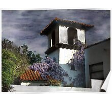 Wisteria on Stucco Poster