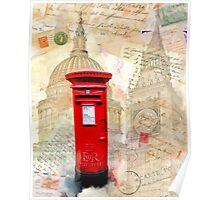 Classic British Red Pillar Box - Postbox Poster