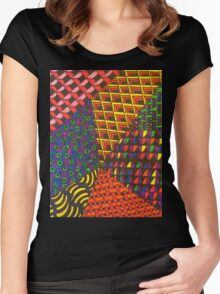 Abstract Geometric Rainbow Zentangle Women's Fitted Scoop T-Shirt