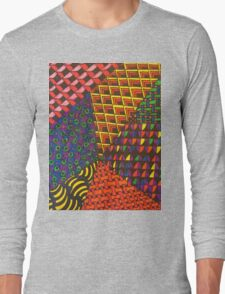 Abstract Geometric Rainbow Zentangle Long Sleeve T-Shirt