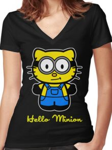 Hello Minion Women's Fitted V-Neck T-Shirt