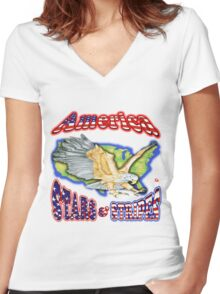 PATRIOTISM / USA Women's Fitted V-Neck T-Shirt