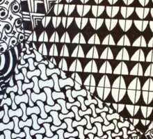 Abstract Geometric Black and White Zentangle Sticker