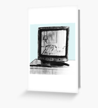 Hotel TV Reflection Greeting Card