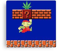 8-bit Retro Mario & Marijuana Canvas Print